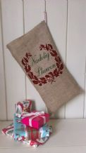 Personalized Welsh Father Christmas Xmas Santa Sack / Stocking Bag Jute Hessian